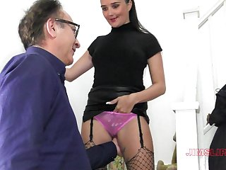 Provocative babe Pixiee spreads her legs to be fucked from behind