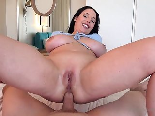 Blue- witnessed dark-haired got down on her knees to fellate jizz-shotgun after getting inserted with it