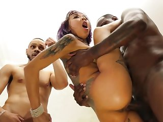 Asian slut roughly impaled by four Ebony stallions