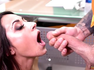 Lucia Nieto fucks and swallows cum for money at an office