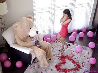 Dude in teddy bear outfit fucks tempting girlfriend Jasmine Grey