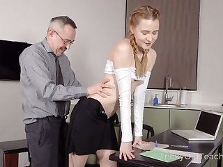 To better her grades hot coed ends up sucking her teacher's cock