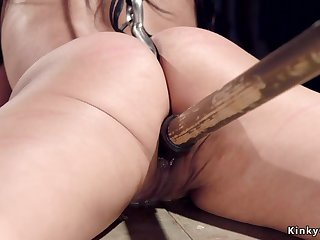 Full-Breasted sub butt hooked and slit toyed
