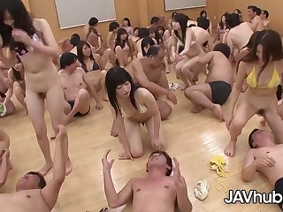 Adorable Japanese damsels are about to have a grup orgy class, as part of their education