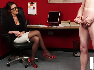 CFNM office voyeur enjoys wanking session