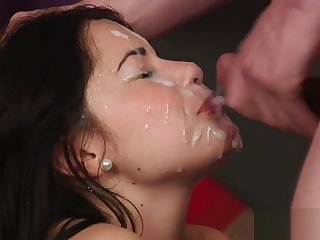 Frisky doll gets cumshot on her face swallowing all the ejaculate
