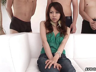 Sexy Japanese girl Rino Tokiwa takes part in crazy gangbang scene