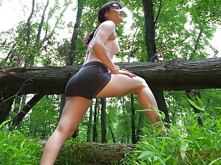 Tied up girl Jezebeth is face fucked by kinky pervert deep in the forest