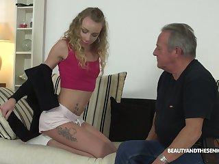 Old fart enjoys fucking deep throat and wet punani of 9 yo nympho Angel Emily