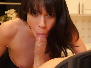 Mature skank gobbles on fat cock