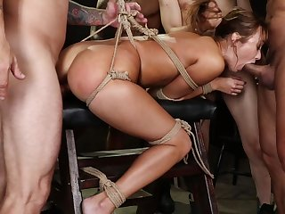 Anal extreme for the wild whore in gang bang special