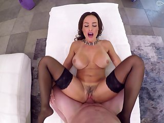 Milf suits her trimmed pussy with a very generous dick