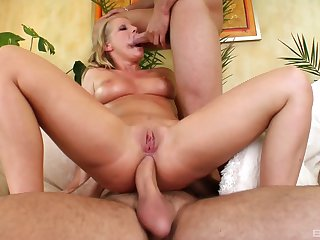 Two extra hard dicks for blonde pornstar Kyra Banks in threesome