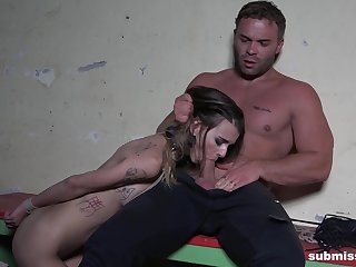 Slaved girl acts obedient for her man's hungry dick